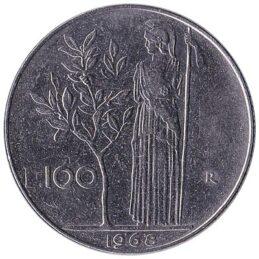 100 Italian Lire coin (Minerva large type)