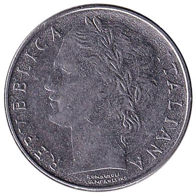 100 Italian Lire coin (Minerva small type)