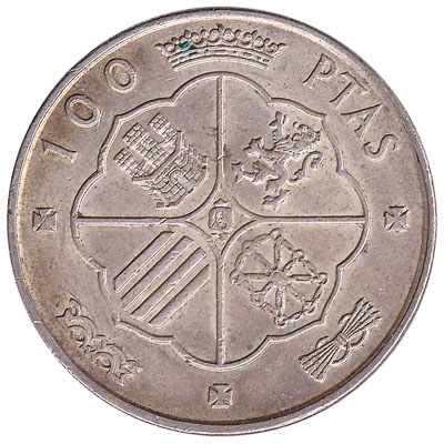 100 Spanish Pesetas coin (Francisco Franco)
