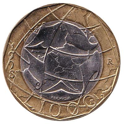 1000 Italian Lire bimetallic coin