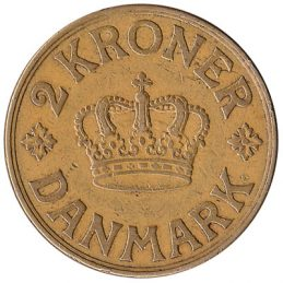 2 Danish Kroner coin Christian X