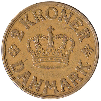 2 Danish Kroner coin Christian X