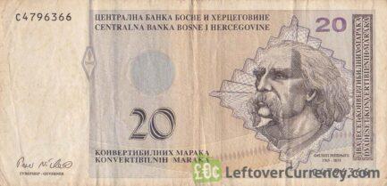 20 Konvertible Marks banknote Republika Srpska (2008 version)
