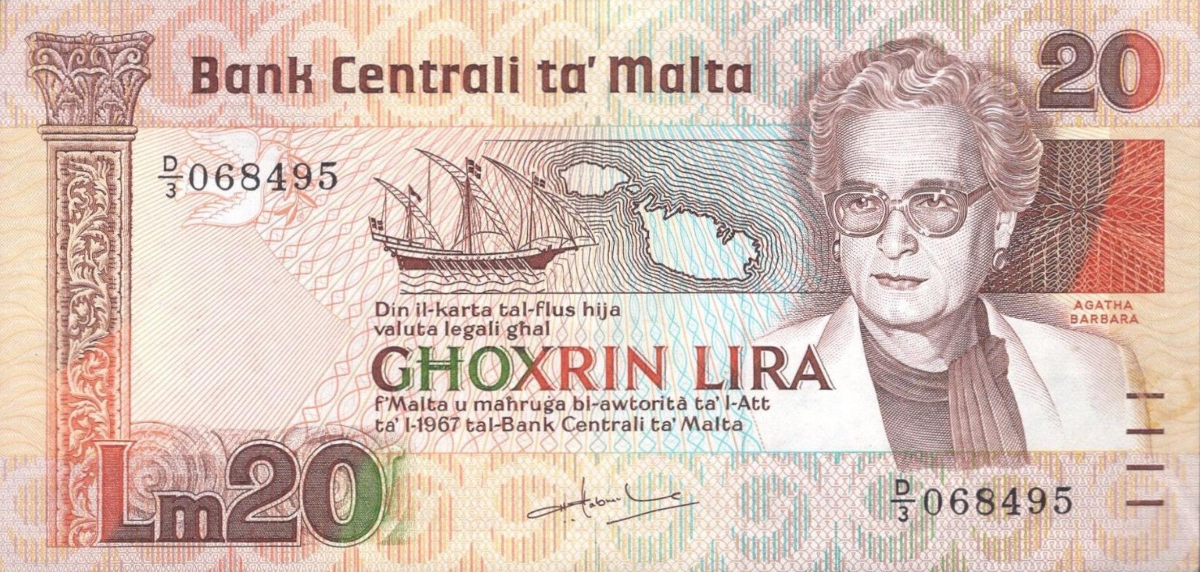 20 Maltese Liri banknote (Agatha Barbara)