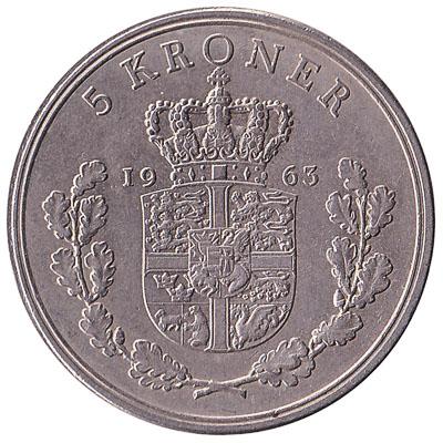 5 Danish Kroner coin Frederik IX