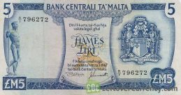 5 Maltese Liri banknote (2nd Series) obverse accepted for exchange