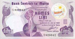 5 Maltese Liri banknote (3rd Series)