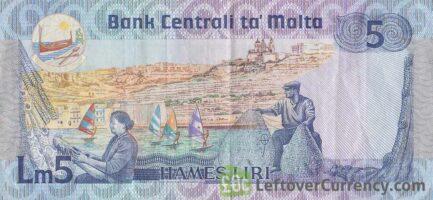 5 Maltese Liri banknote (Agatha Barbara)