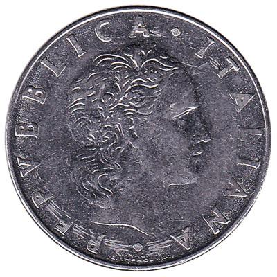 50 Italian Lire coin (Vulcan large type)