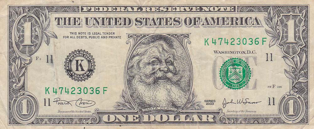 Santa Claus dollars bill