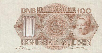 100 Dutch Guilders banknote (Meisjeskop)