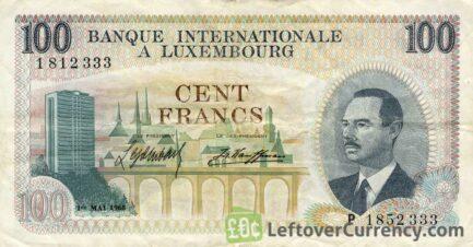 100 Francs banknote Banque Internationale à Luxembourg 1968