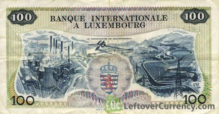 100 Francs banknote Banque Internationale à Luxembourg 1968