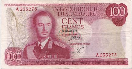 100 Luxembourg Francs banknote 1970