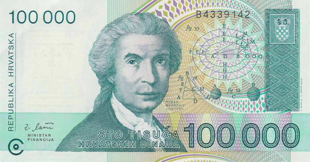Leftover Currency - Value of 100,000 Republika Hrvatska banknote