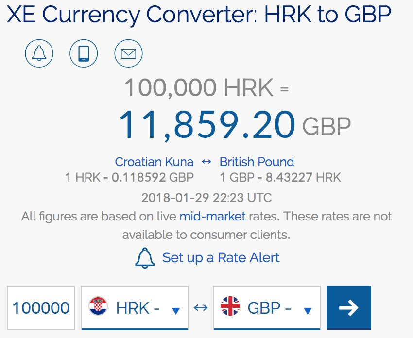 100000 kuna to GBP value