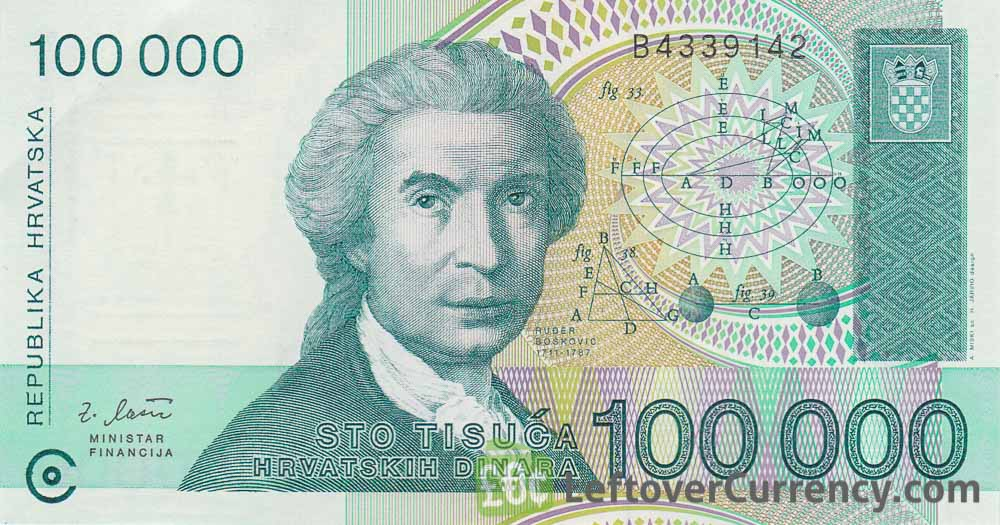 100000 hrvatskih dinara republika hrvatska banknote obverse