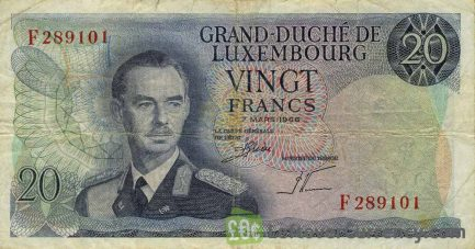 20 Luxembourg Francs banknote 1966