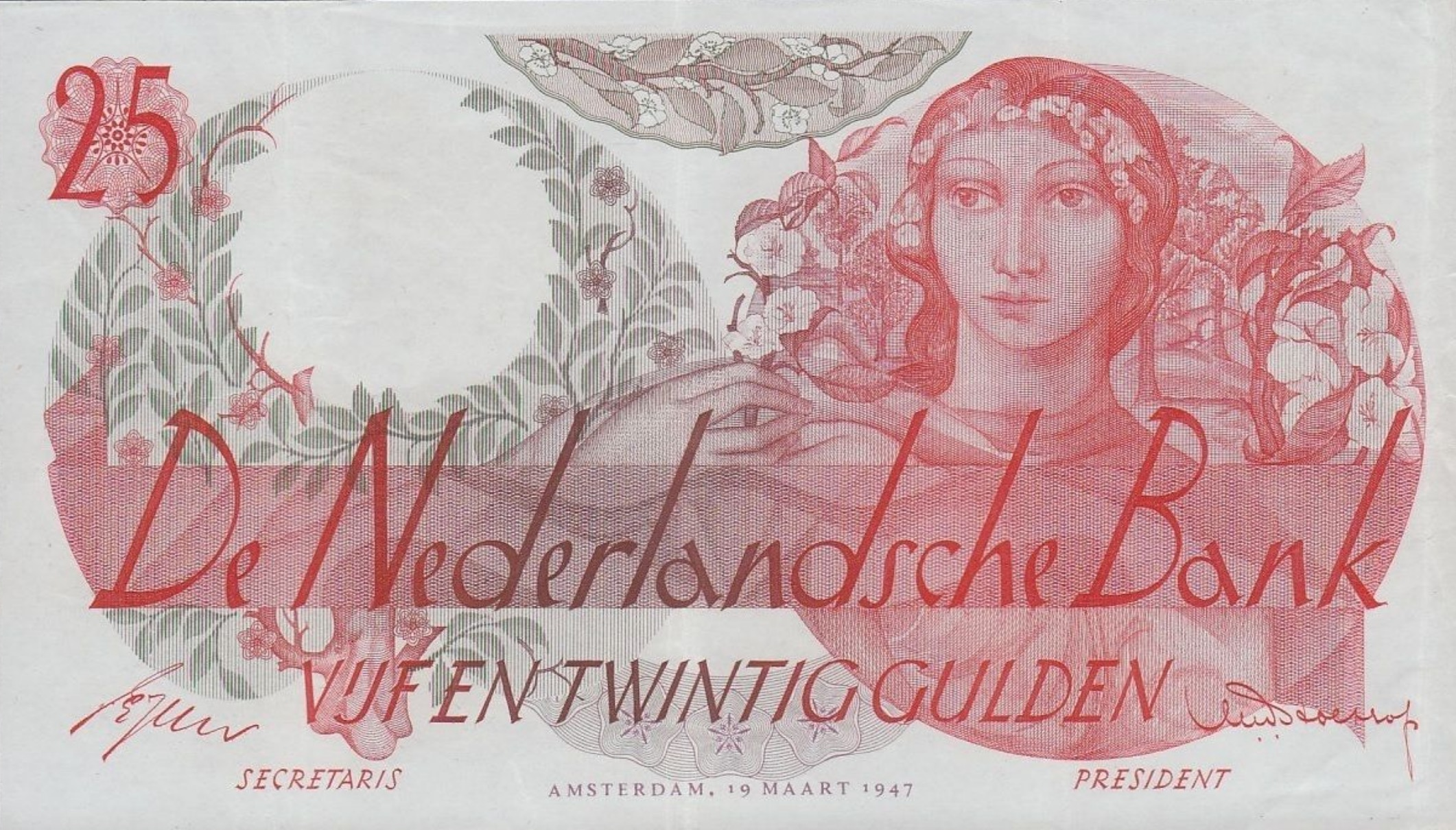 25 Dutch Guilders banknote (Flora)