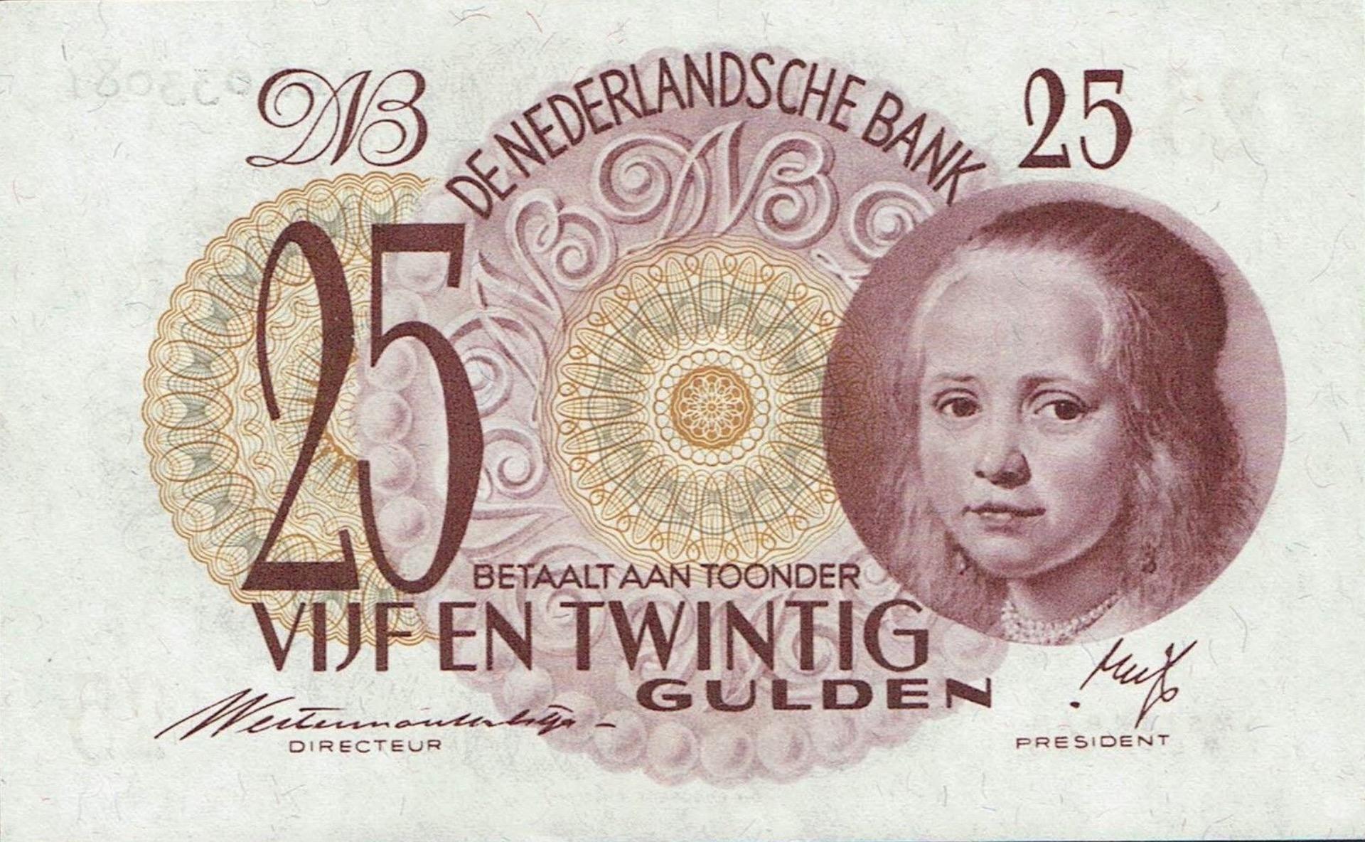 25 Dutch Guilders banknote (Meisje in blauw)
