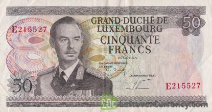 50 Luxembourg Francs banknote 1972