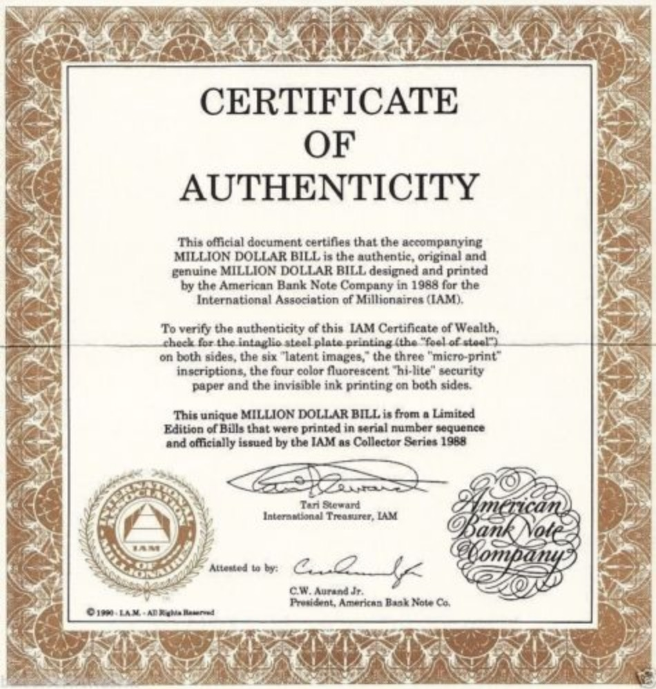 Certificate of Authenticity $1 Million dollars