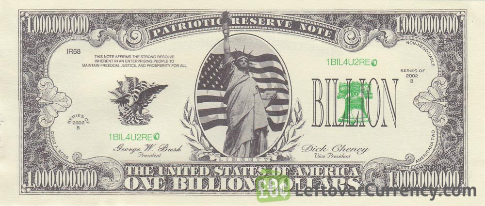 one billion dollar banknote USA obverse