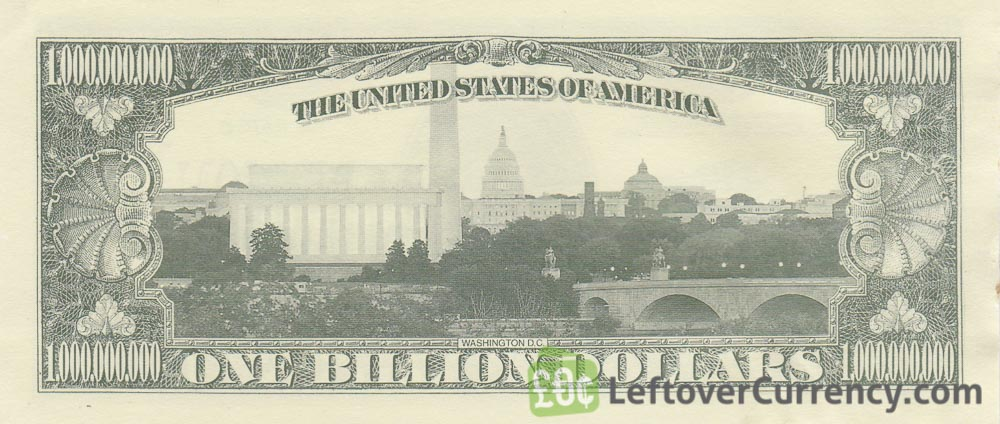 one billion dollar banknote USA reverse