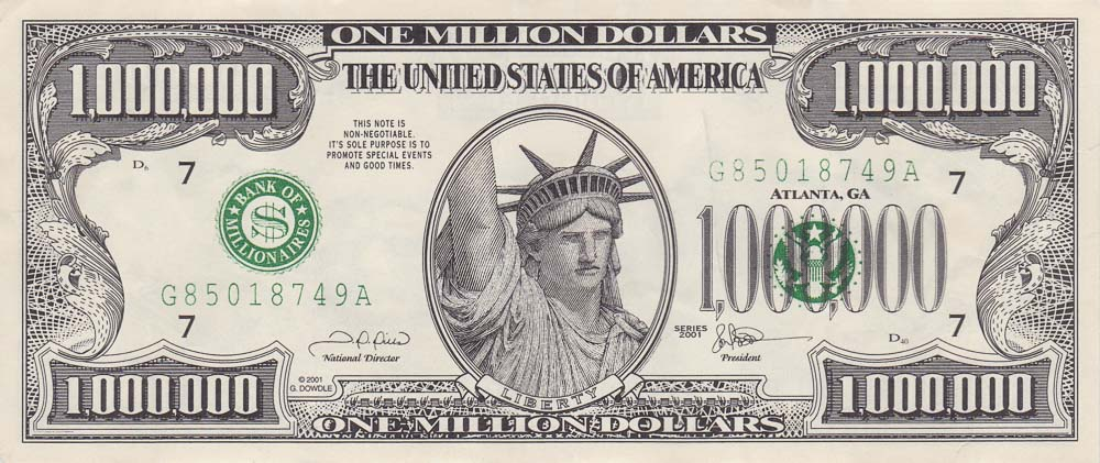 One Million Dollar bill - USA novelty banknotes - Leftover