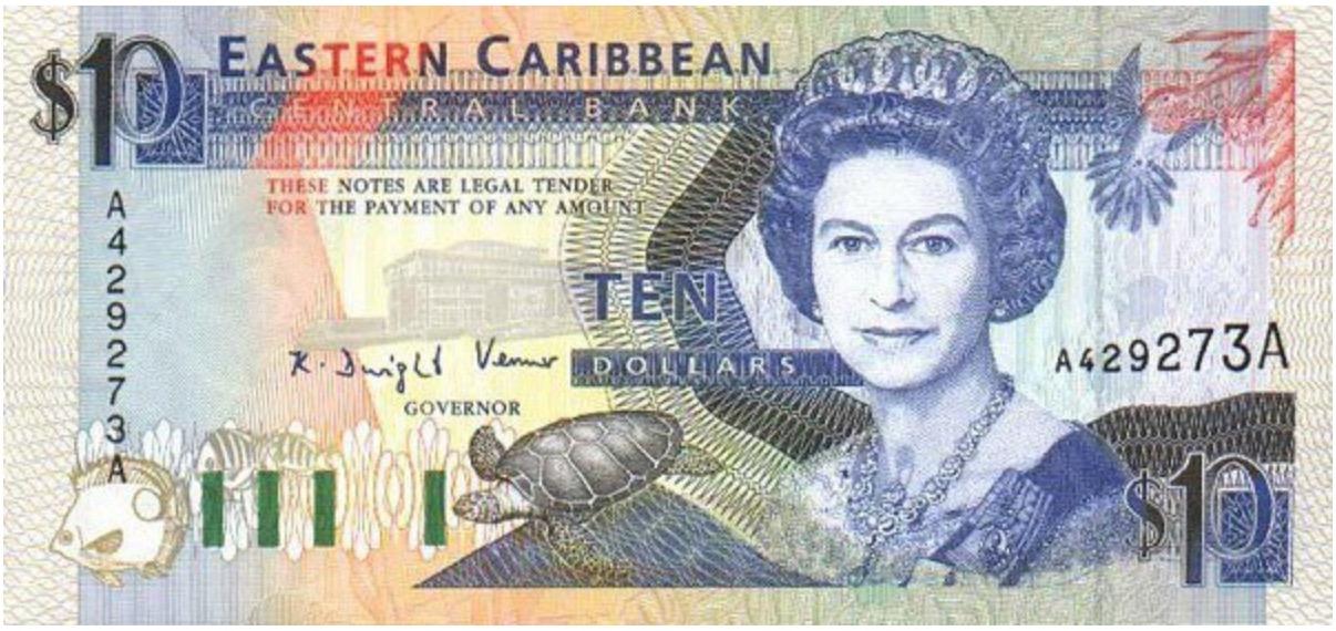 10 Eastern Caribbean dollars banknote