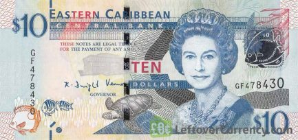 10 Eastern Caribbean dollars banknote (holographic security thread)
