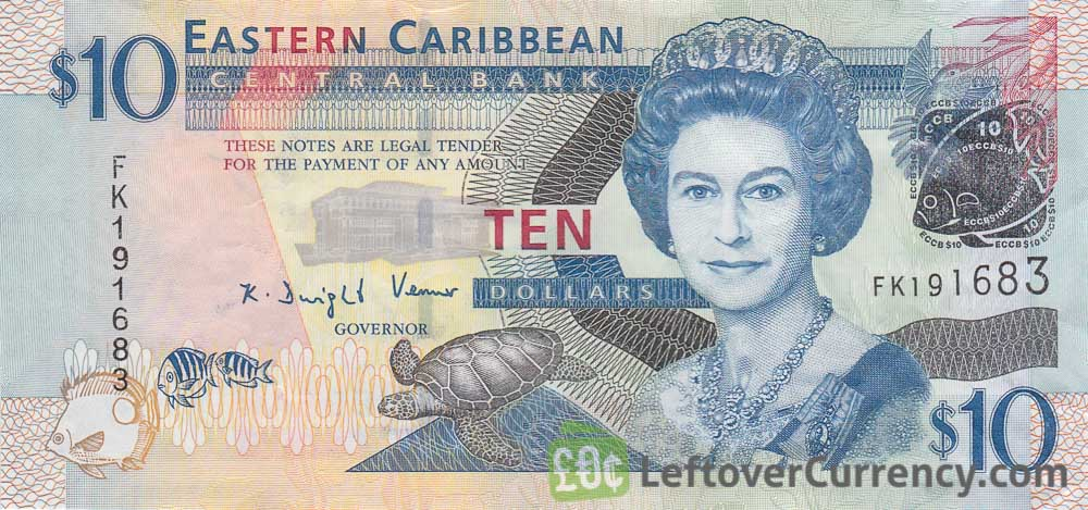 10 Eastern Caribbean dollars banknote (improved security features)