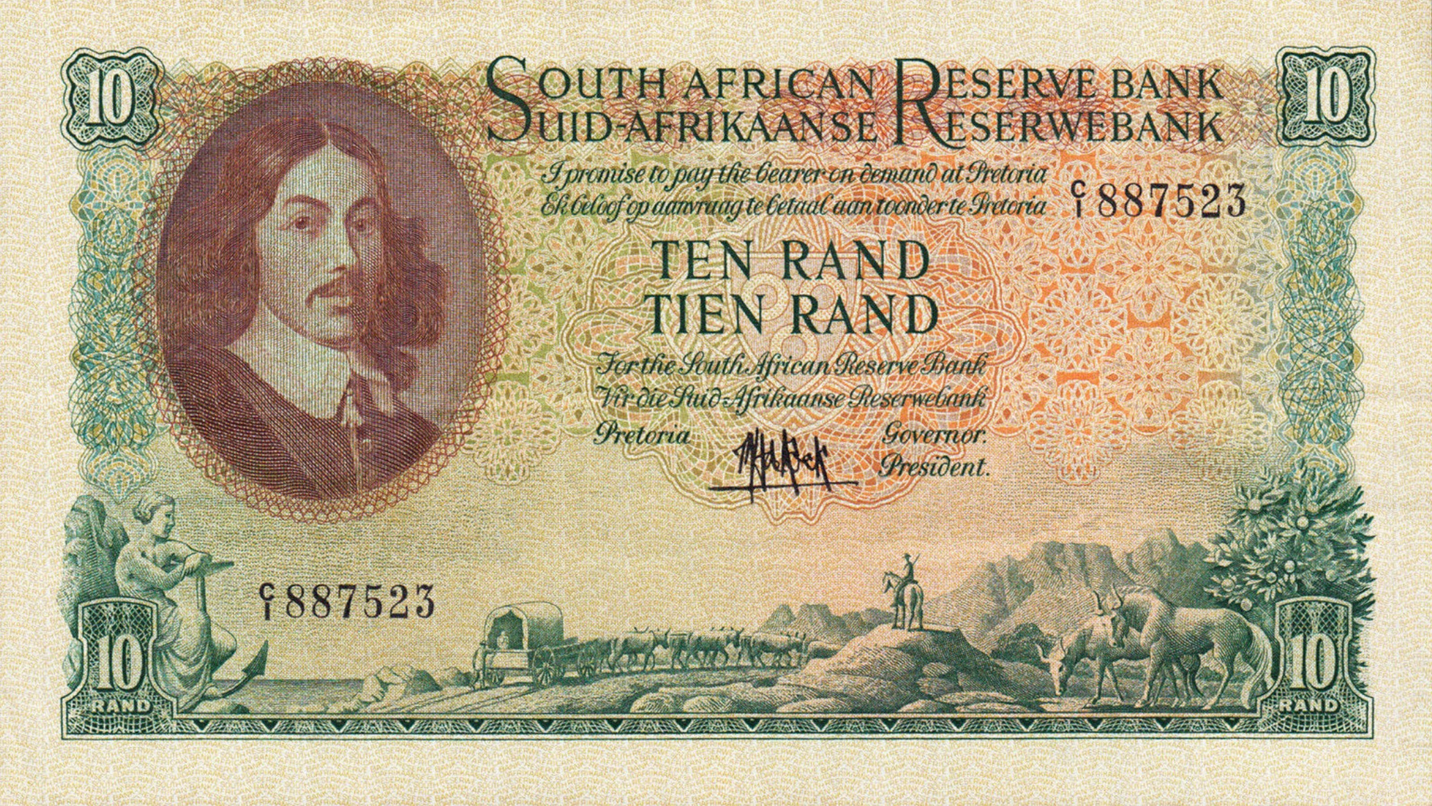 10 South African Rand banknote (van Riebeeck large type)