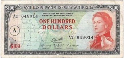 100 East Caribbean dollars banknote (1965 issue)