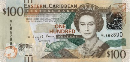 100 Eastern Caribbean dollars banknote (improved security features)