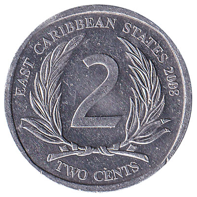2 cents coin East Caribbean States