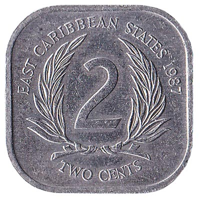 2 cents coin East Caribbean States (square) obverse accepted for exchange