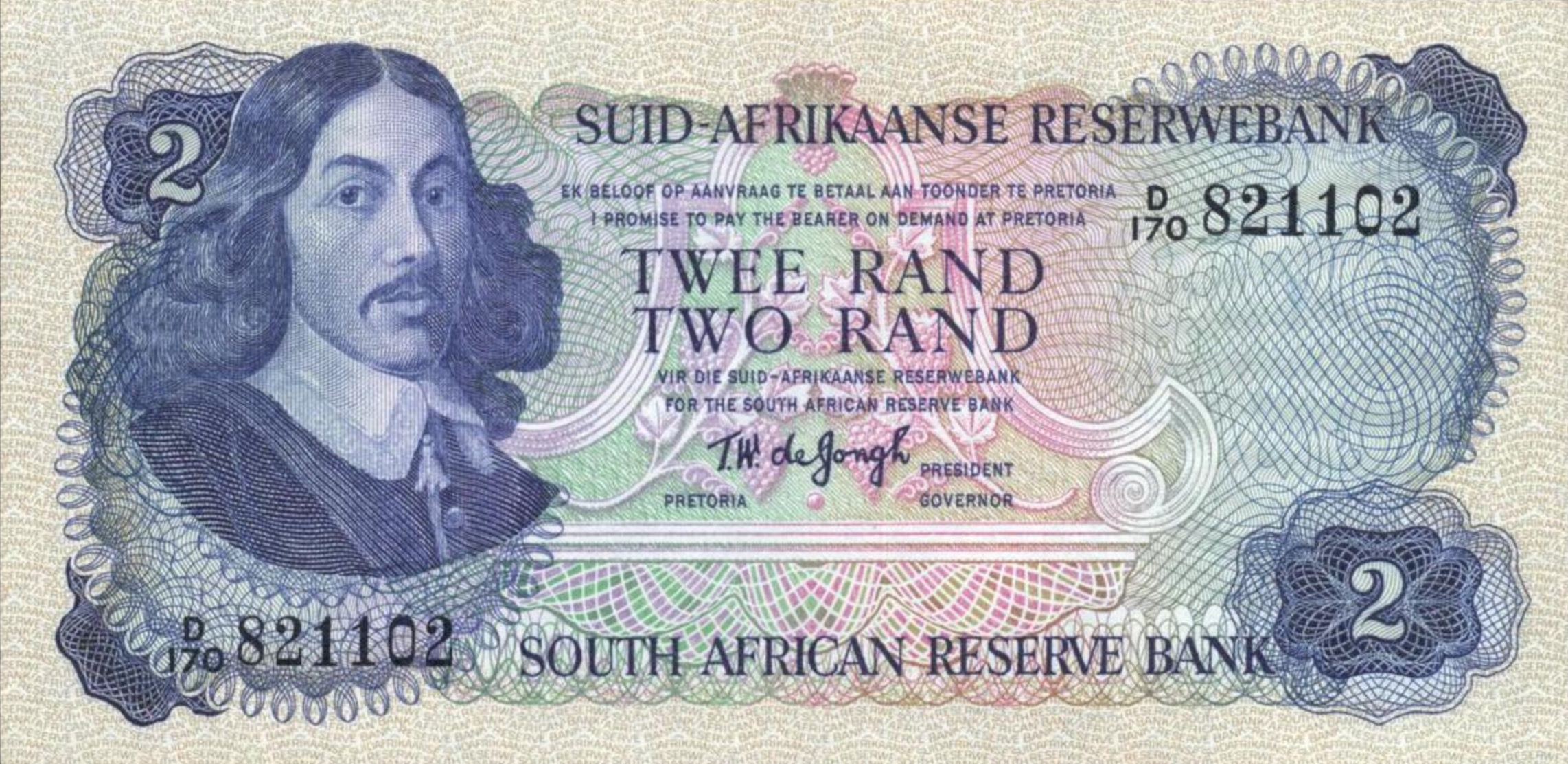 2 South African Rand banknote (van Riebeeck 1974 issue)
