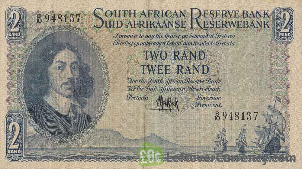 2 South African Rand banknote (van Riebeeck large type)