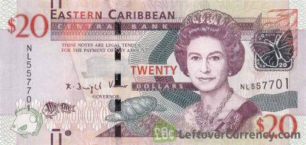 20 Eastern Caribbean dollars banknote (holographic security thread)