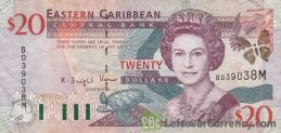 20 Eastern Caribbean dollars banknote (improved security features)