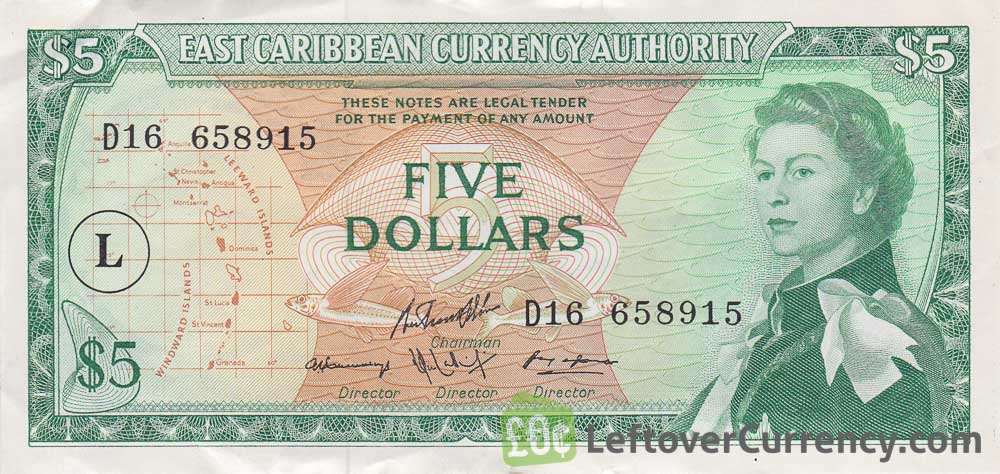 5 East Caribbean dollars banknote (1965 issue)