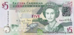 5 Eastern Caribbean dollars banknote (improved security features)