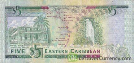 5 Eastern Caribbean dollars banknote