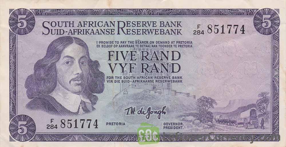 5 South African Rand banknote (van Riebeeck framed)