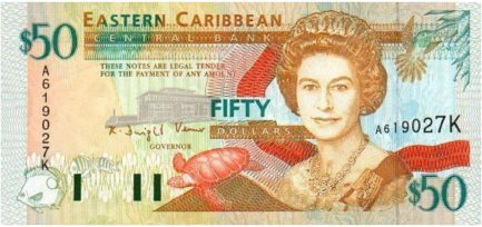 50 Eastern Caribbean dollars banknote (first issue orange)