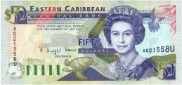 50 Eastern Caribbean dollars banknote (first issue purple)