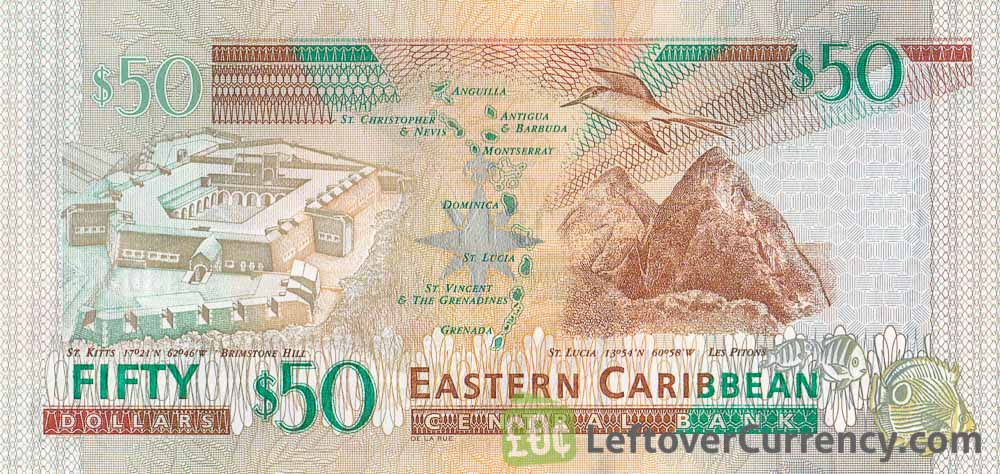 50 Eastern Caribbean dollars banknote (holographic security thread)
