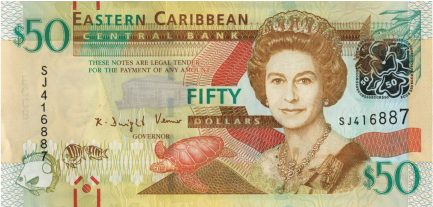 50 Eastern Caribbean dollars banknote (improved security features)