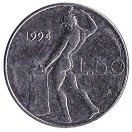 50 Italian Lire coin (Vulcan small type)